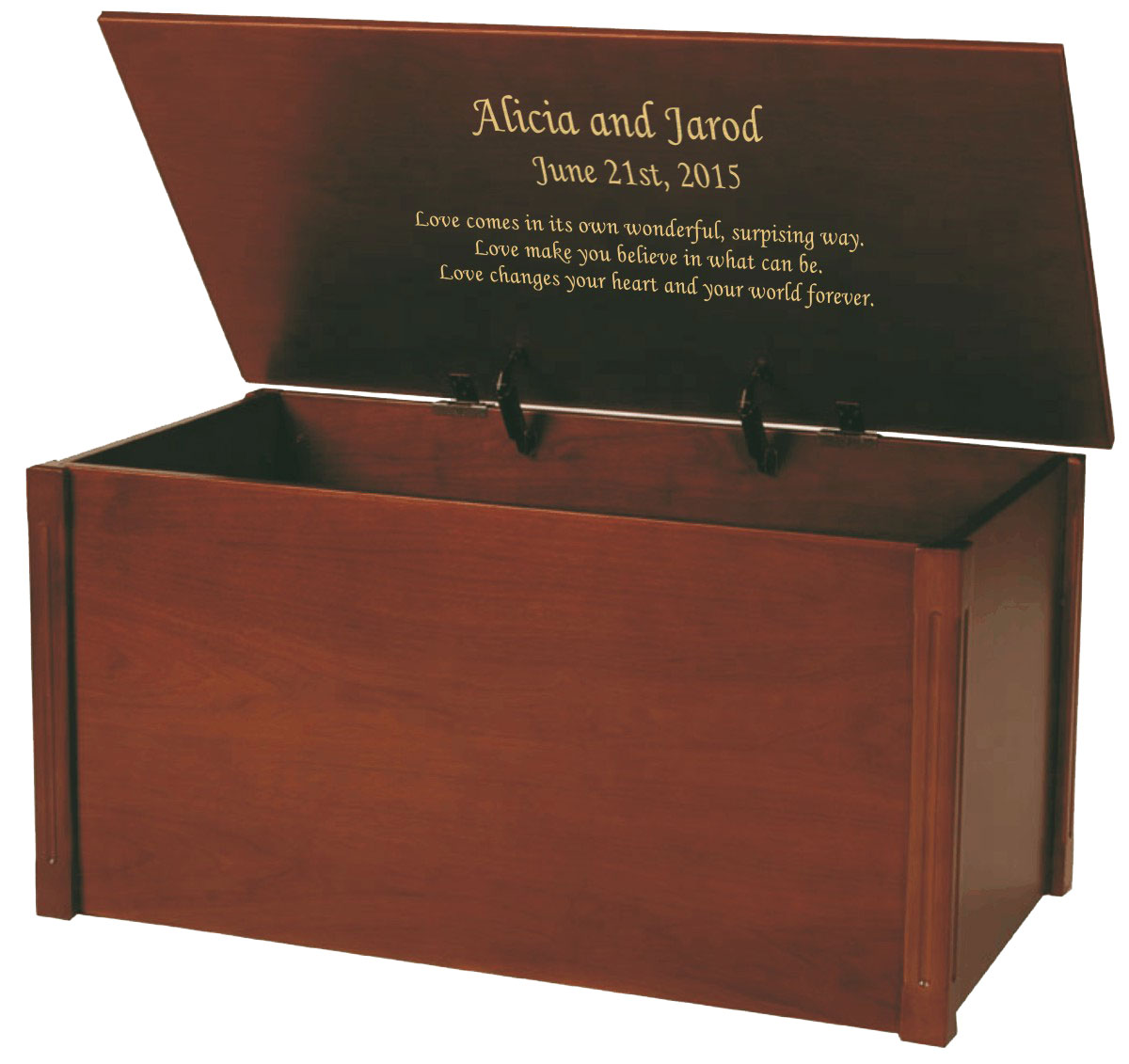Large wooden memory chest and box