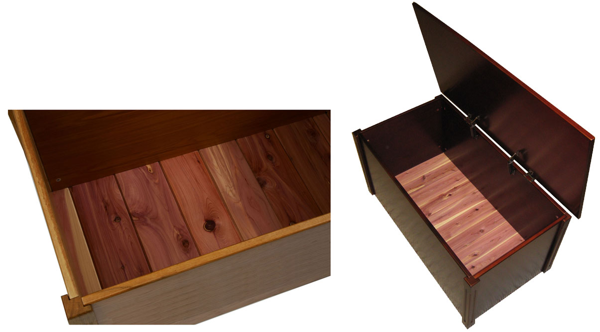 wooden chest with lid open