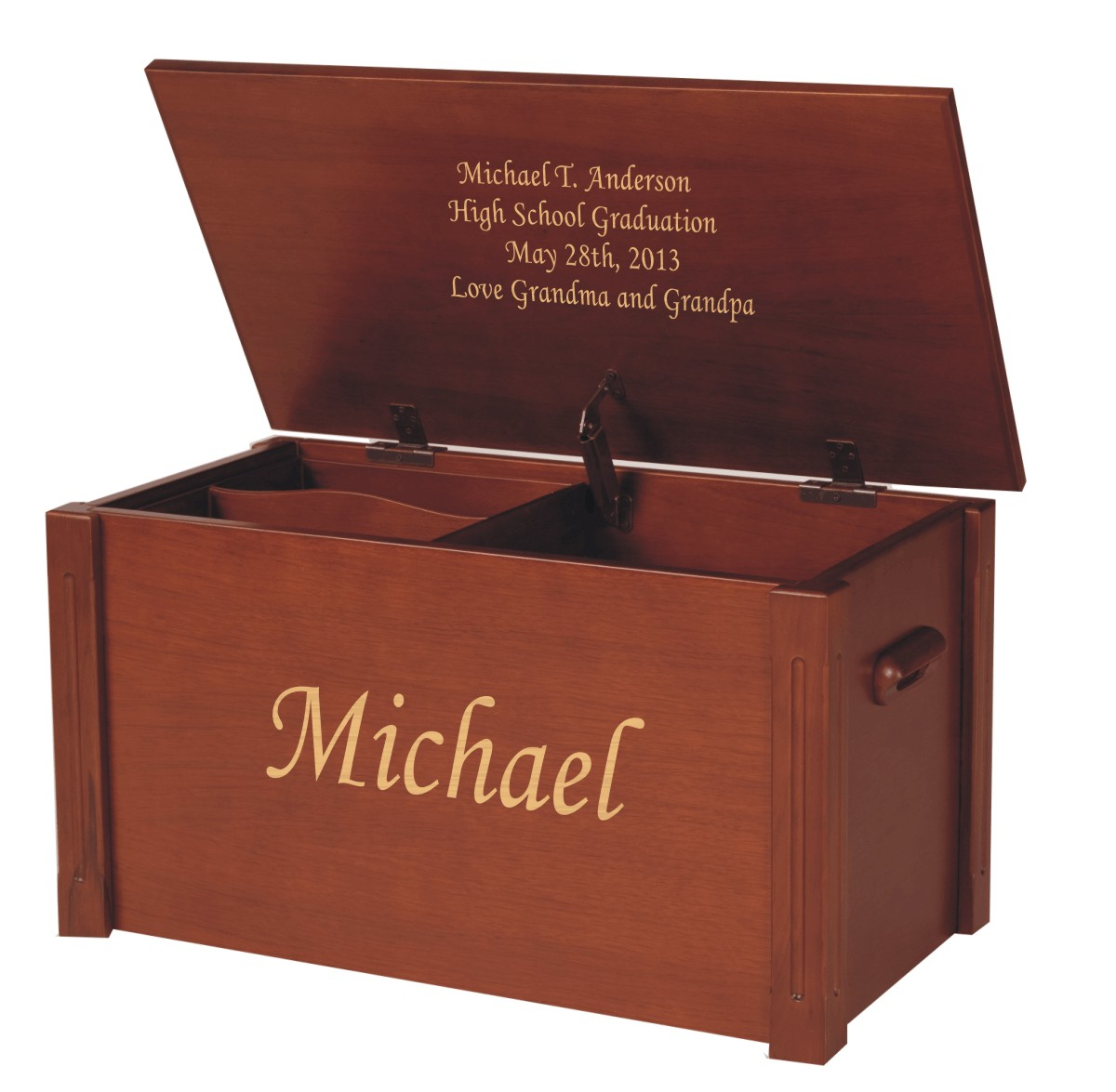 engraved wooden cherry chest