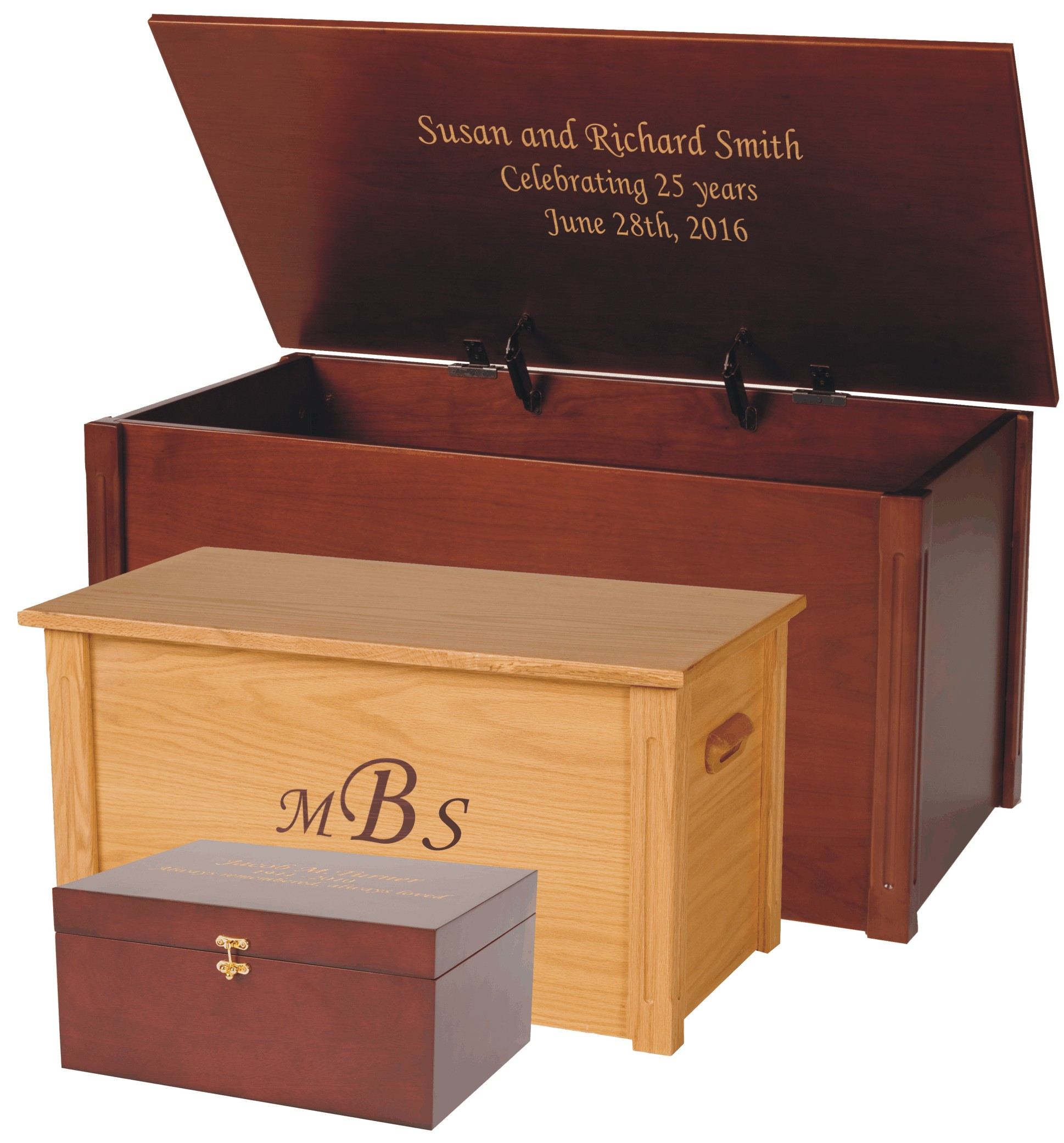 All wood memory boxes for an anniversary