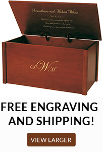 Free Engraving and Shipping on all wooden storage chests and keepsake boxes